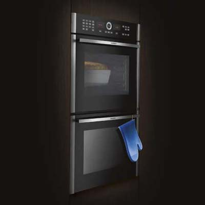 Slick built-in double wall ovens with ipod-like controls from Siemens