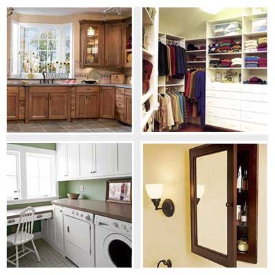 kitchen cabinets, walk-in closet, laundry room, medicine cabinet
