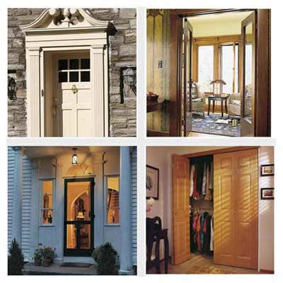 front entry, screen door, interior doorway, closet doors
