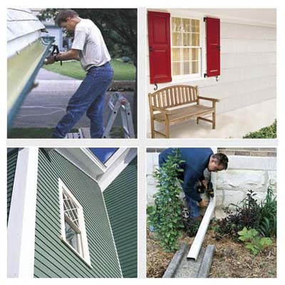siding, gutters, shutters, outdoor bench