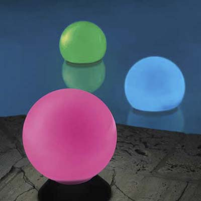 solar-powered light orbs which slowly turn from blue to pink to red to green