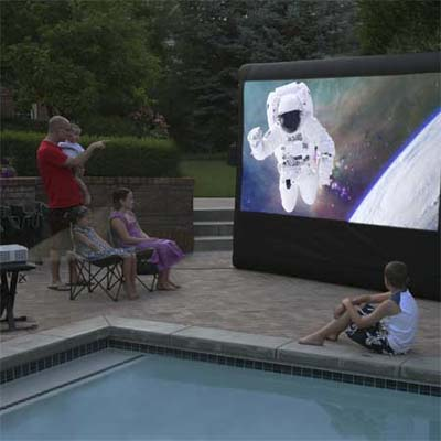 complete outdoor cinema package with inflatable screen, digital projector, sound mixer, dvd player, LED light, cables, carrying case and blower fan