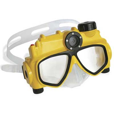 a five-megapixel underwater camera-equipped swim mask from hammacher schlemmer lets you take pictures at a depth of up to 15 feet