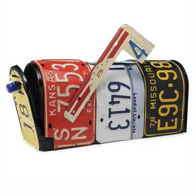iconic mailboxes made from all recycled materials including license plates and billiard balls