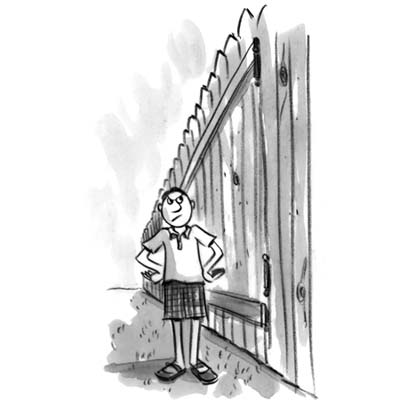 cartoon of disgruntled man standing next to very high fence