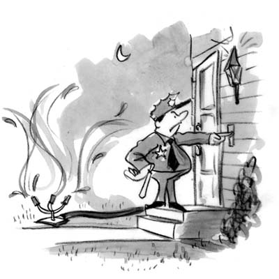 cartoon of angry policeman ringing bell of house where lawn is being watered at night