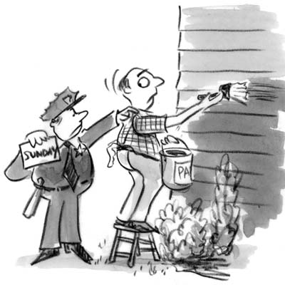 cartoon of police giving man ticket for painting house on Sunday