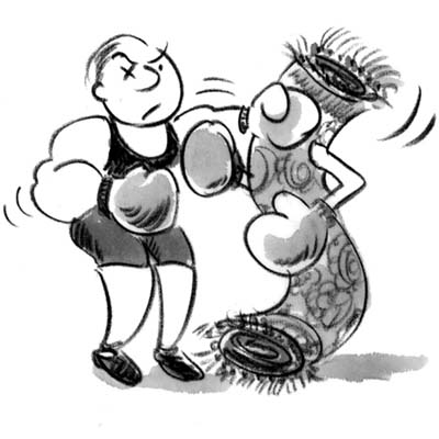 cartoon of man beating rug with boxing gloves