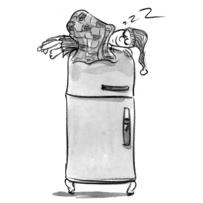 cartoon of man sleeping on top of a refrigerator