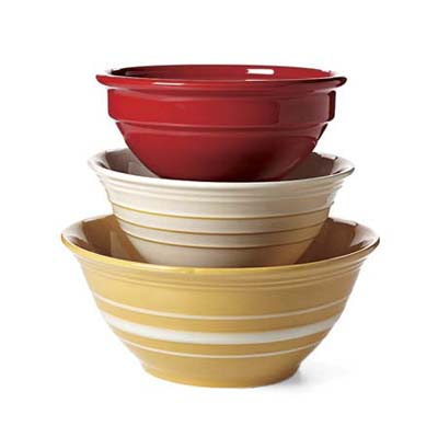 Flared yellowware, whiteware, and colorful rolled-rim bowls