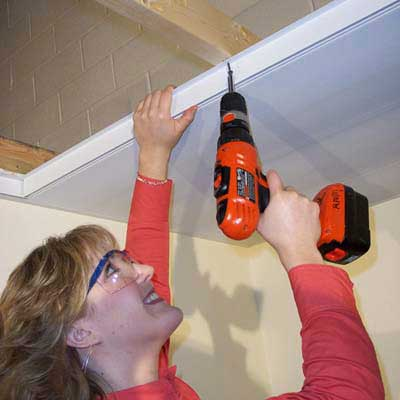 installation of the Zip-Up Ceiling System, free-floating, interlocking ceiling panels
