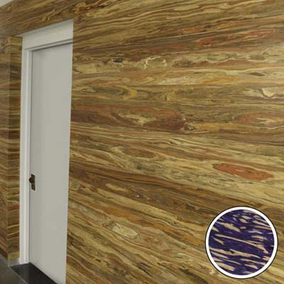 hallway wall covered in mulberry laminate panels made by Engineered Timber Resources