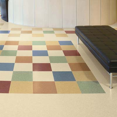 colorful tile flooring made from limestone and BioStride made by Armstrong