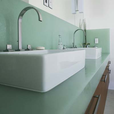 bathroom with sinks made from bio-glass made by ECOverings