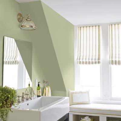bathroom painted in a green/yellow hue which is a zero-VOC paint called Natura made by Benjamin Moore