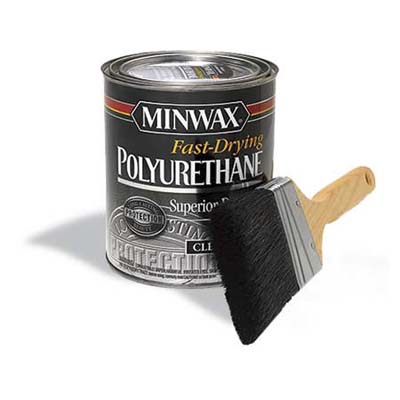 can of polyurethane with paintbrush