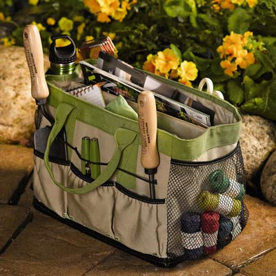 a waterproof tool bag for gardening made by Smith & Hawken
