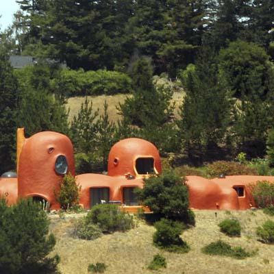 bright orange flintstones house in california