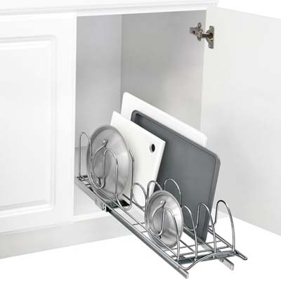 smart kitchen cabinet upgrades to keep your life organized: slide-out kitchen storage rack in chrome