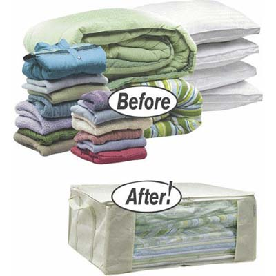smart linen storage idea to keep your life organized: space bag totes