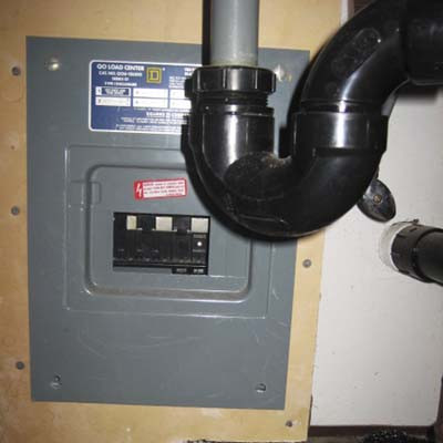 an electrical panel located underneath a sink next to pipes