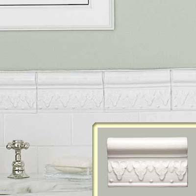 leaf-motif border glazed wall tile