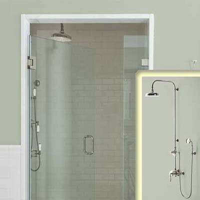 dual showerheads for vintage bathroom