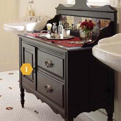 Vintage Washstand in bathroom