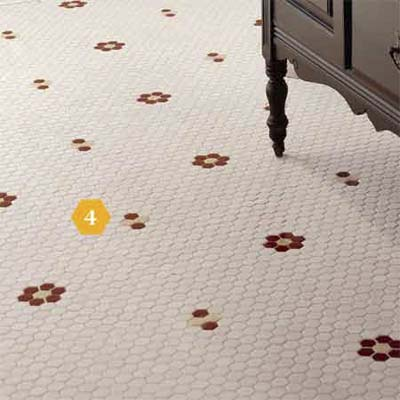 Mosaic floor tiles in bathroom
