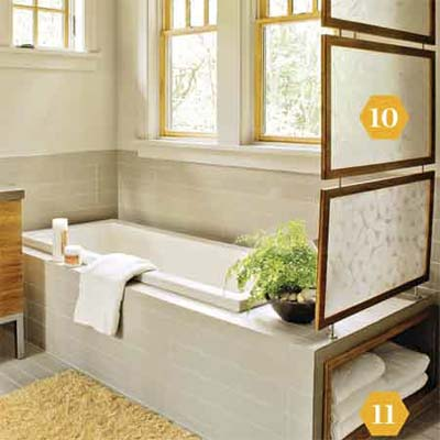 Room divider and towel cubby in bathroom