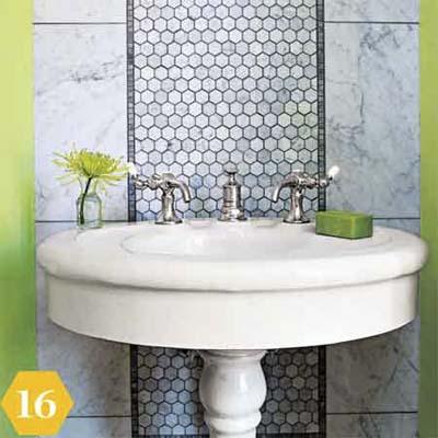 Tile wall runner in bathroom