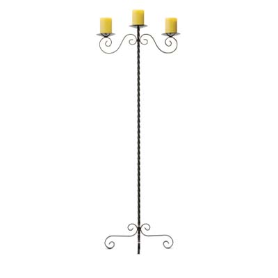 iron candle stand with three candles