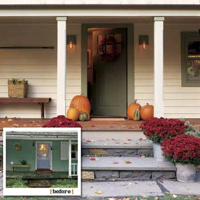 before and after views of the main entry of this farmhouse remodel