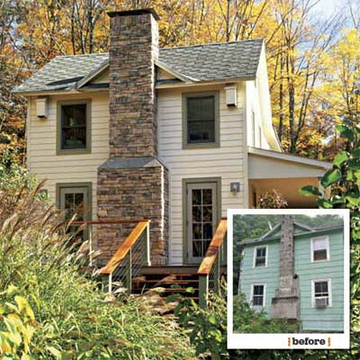 before and after views showing the chimney side of this farmhouse remodel