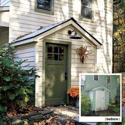 before and after views showing the new integration of the side entryway of this farmhouse remodel
