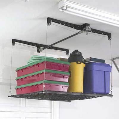 overhead storage system to mount on garage ceiling rafters