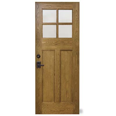the natural wood door with its earth-toned colors look at home