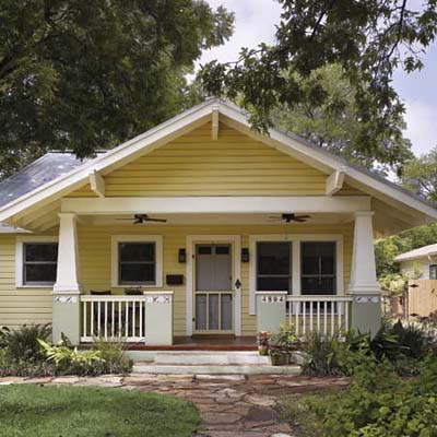 remodel in Austin, TX with new front porch, paint job and drought-tolerant landscaping