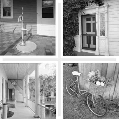 composite image of a hand pump for water, a screen door, a deep porch and a bike with a basket full of fresh vegetables