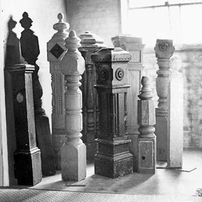 stack of newel-posts in a room