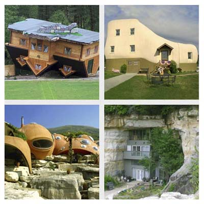 an upside-down house, a shoe-shaped house, a bubble-shaped house, a house set into a cave