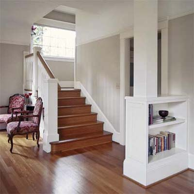 build a perpendicular bookshelf for an entry partition