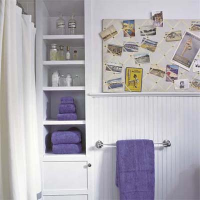 build shelves into a bathroom wall