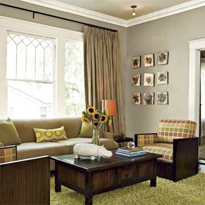 the authors self-remodeled 1920's bungalow living room