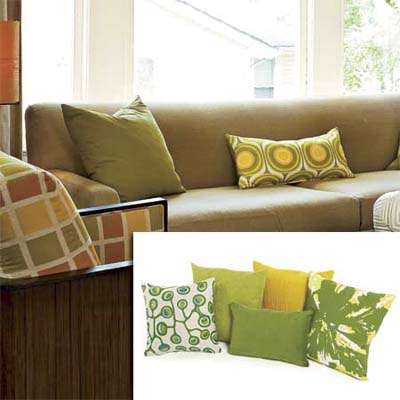 patterned pillows adding texture to this remodeled living room