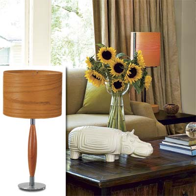 wood grain lampshade inset in photo of remodeled bungalow living room