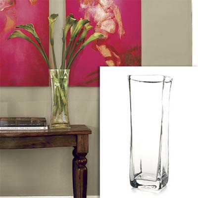 square glass vase inset in photo of this remodeled bungalow living room
