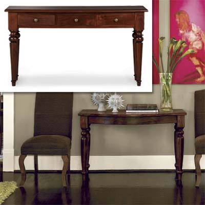 mango wood dover console table inset in photo of this remodeled bungalow living room