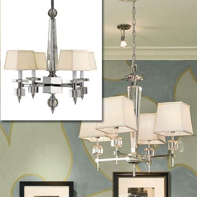 four-light crystal chandelier inset in photo of this remodeled bungalow living room