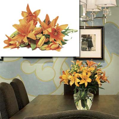 fresh flower bouquet inset in photo of this remodeled bungalow living room